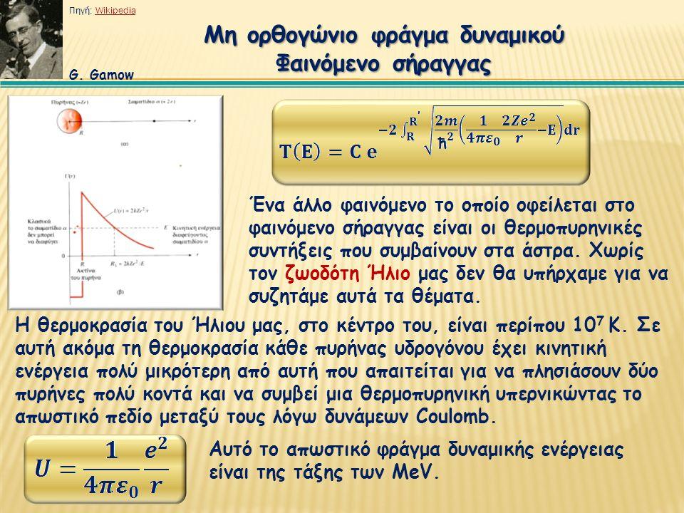 Μη ορθογώνιο φράγμα δυναμικού Φαινόμενο σήραγγας Ένα άλλο φαινόμενο το οποίο οφείλεται στο φαινόμενο σήραγγας είναι οι θερμοπυρηνικές συντήξεις που συ