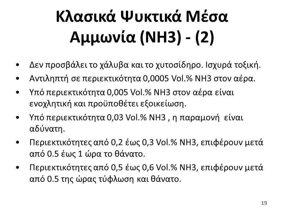 Κλασικά Ψυκτικά Μέσα Αμμωνία (NH3) - (2) 19 Δεν προσβάλει το χάλυβα και το χυτοσίδηρο.