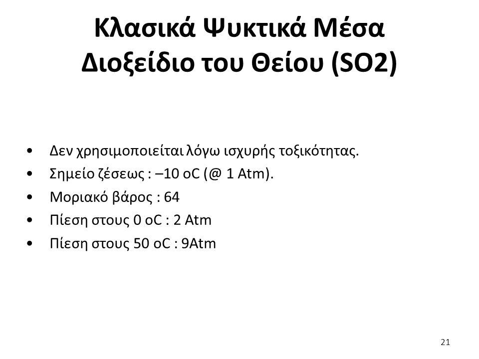 Κλασικά Ψυκτικά Μέσα Διοξείδιο του Θείου (SO2) 21 Δεν χρησιμοποιείται λόγω ισχυρής τοξικότητας.