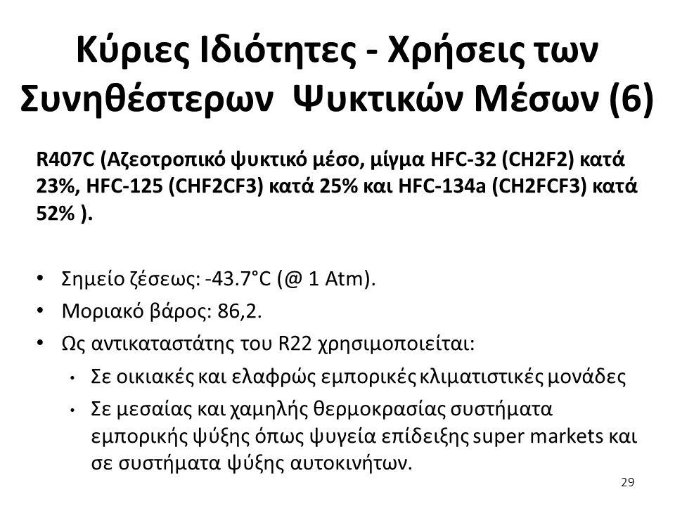 Κύριες Ιδιότητες - Χρήσεις των Συνηθέστερων Ψυκτικών Μέσων (6) 29 R407C (Αζεοτροπικό ψυκτικό μέσο, μίγμα HFC-32 (CH2F2) κατά 23%, HFC-125 (CHF2CF3) κατά 25% και HFC-134a (CH2FCF3) κατά 52% ).