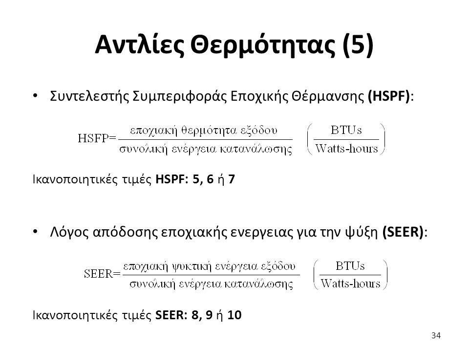 Αντλίες Θερμότητας (5) 34 Συντελεστής Συμπεριφοράς Εποχικής Θέρμανσης (HSPF): Ικανοποιητικές τιμές HSPF: 5, 6 ή 7 Λόγος απόδοσης εποχιακής ενεργειας για την ψύξη (SEER): Ικανοποιητικές τιμές SEER: 8, 9 ή 10