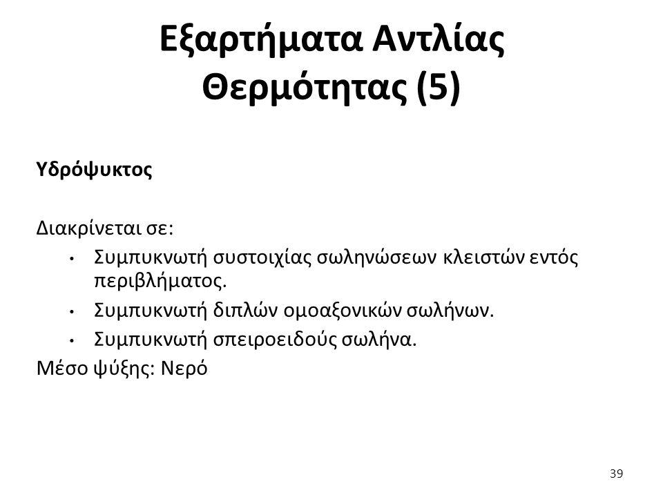 Εξαρτήματα Αντλίας Θερμότητας (5) 39 Υδρόψυκτος Διακρίνεται σε: Συμπυκνωτή συστοιχίας σωληνώσεων κλειστών εντός περιβλήματος.