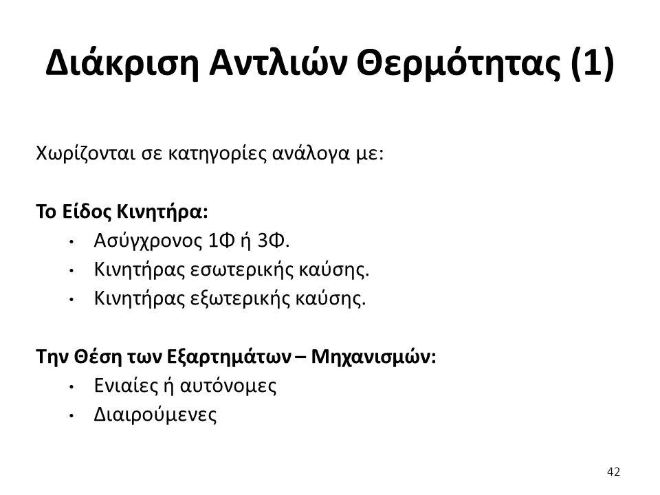 Διάκριση Αντλιών Θερμότητας (1) 42 Χωρίζονται σε κατηγορίες ανάλογα με: Το Είδος Κινητήρα: Ασύγχρονος 1Φ ή 3Φ.