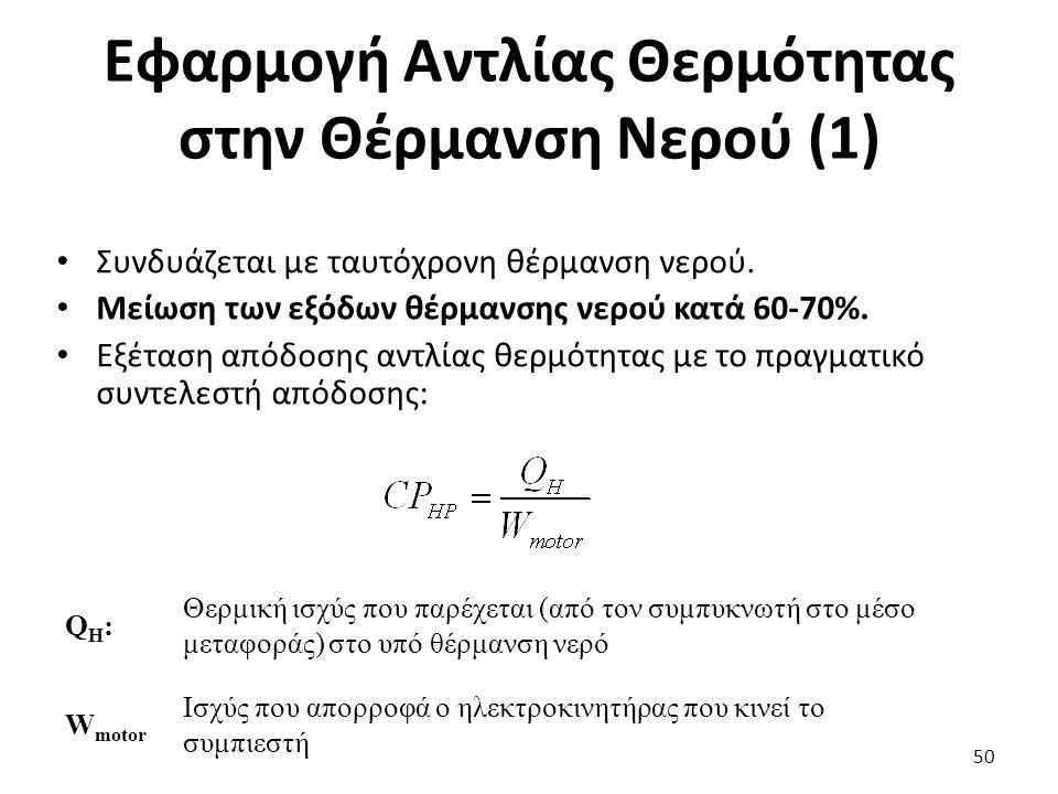 Εφαρμογή Αντλίας Θερμότητας στην Θέρμανση Νερού (1) 50 Συνδυάζεται με ταυτόχρονη θέρμανση νερού.