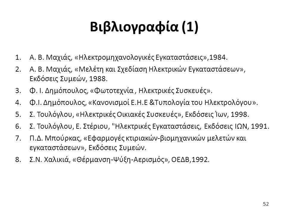 52 Βιβλιογραφία (1) 1.A. B. Μαχιάς, «Ηλεκτρομηχανολογικές Εγκαταστάσεις»,1984.