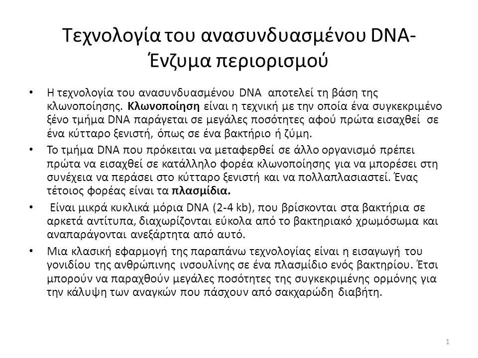 Τεχνολογία του ανασυνδυασμένου DNA- Ένζυμα περιορισμού Η τεχνολογία του ανασυνδυασμένου DNA αποτελεί τη βάση της κλωνοποίησης.