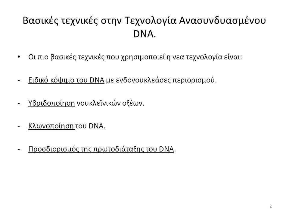 Βασικές τεχνικές στην Τεχνολογία Ανασυνδυασμένου DNA.