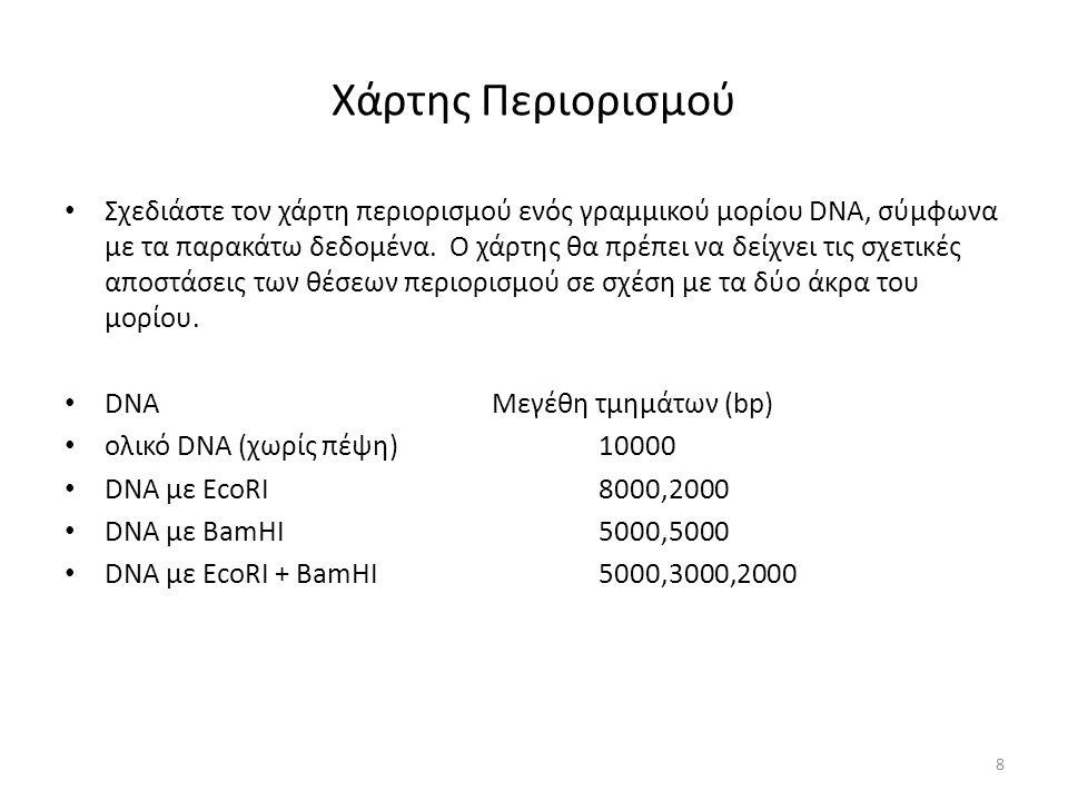 Χάρτης Περιορισμού Σχεδιάστε τον χάρτη περιορισμού ενός γραμμικού μορίου DNA, σύμφωνα με τα παρακάτω δεδομένα.