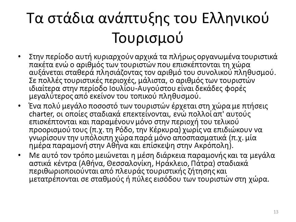 Τα στάδια ανάπτυξης του Ελληνικού Τουρισμού Στην περίοδο αυτή κυριαρχούν αρχικά τα πλήρως οργανωμένα τουριστικά πακέτα ενώ ο αριθμός των τουριστών που επισκέπτονται τη χώρα αυξάνεται σταθερά πλησιάζοντας τον αριθμό του συνολικού πληθυσμού.