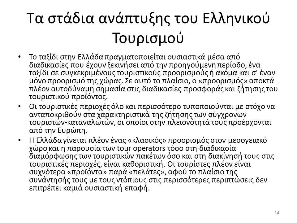 Τα στάδια ανάπτυξης του Ελληνικού Τουρισμού Το ταξίδι στην Ελλάδα πραγματοποιείται ουσιαστικά μέσα από διαδικασίες που έχουν ξεκινήσει από την προηγούμενη περίοδο, ένα ταξίδι σε συγκεκριμένους τουριστικούς προορισμούς ή ακόμα και σ έναν μόνο προορισμό της χώρας.