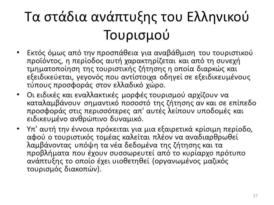 Τα στάδια ανάπτυξης του Ελληνικού Τουρισμού Εκτός όμως από την προσπάθεια για αναβάθμιση του τουριστικού προϊόντος, η περίοδος αυτή χαρακτηρίζεται και από τη συνεχή τμηματοποίηση της τουριστικής ζήτησης η οποία διαρκώς και εξειδικεύεται, γεγονός που αντίστοιχα οδηγεί σε εξειδικευμένους τύπους προσφοράς στον ελλαδικό χώρο.