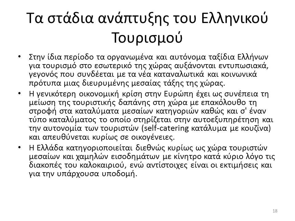 Τα στάδια ανάπτυξης του Ελληνικού Τουρισμού Στην ίδια περίοδο τα οργανωμένα και αυτόνομα ταξίδια Ελλήνων για τουρισμό στο εσωτερικό της χώρας αυξάνονται εντυπωσιακά, γεγονός που συνδέεται με τα νέα καταναλωτικά και κοινωνικά πρότυπα μιας διευρυμένης μεσαίας τάξης της χώρας.