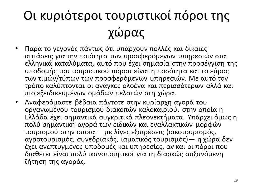Οι κυριότεροι τουριστικοί πόροι της χώρας Παρά το γεγονός πάντως ότι υπάρχουν πολλές και δίκαιες αιτιάσεις για την ποιότητα των προσφερόμενων υπηρεσιών στα ελληνικά καταλύματα, αυτό που έχει σημασία στην προσέγγιση της υποδομής του τουριστικού πόρου είναι η ποσότητα και το εύρος των τιμών/τύπων των προσφερόμενων υπηρεσιών.