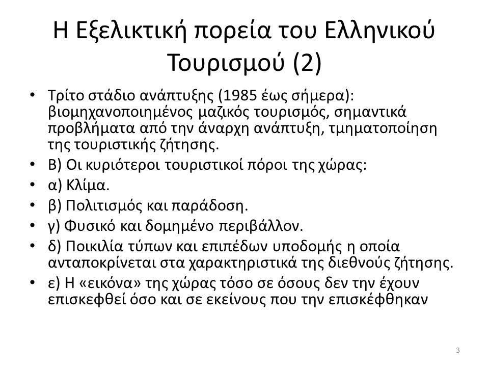 Τα στάδια ανάπτυξης του Ελληνικού Τουρισμού Πρώτο στάδιο ανάπτυξης (1950-1965): περιηγητές τουρίστες, υποτυπώδεις υποδομές, πολιτιστικός τουρισμός και τουρισμός διακοπών.