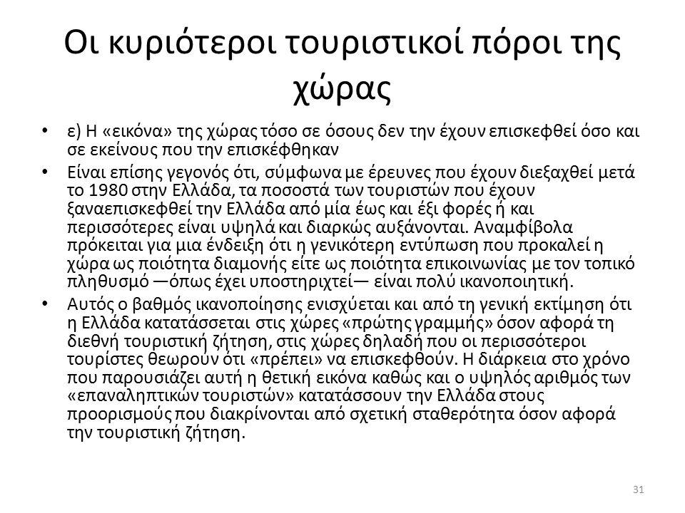 Οι κυριότεροι τουριστικοί πόροι της χώρας ε) Η «εικόνα» της χώρας τόσο σε όσους δεν την έχουν επισκεφθεί όσο και σε εκείνους που την επισκέφθηκαν Είναι επίσης γεγονός ότι, σύμφωνα με έρευνες που έχουν διεξαχθεί μετά το 1980 στην Ελλάδα, τα ποσοστά των τουριστών που έχουν ξαναεπισκεφθεί την Ελλάδα από μία έως και έξι φορές ή και περισσότερες είναι υψηλά και διαρκώς αυξάνονται.