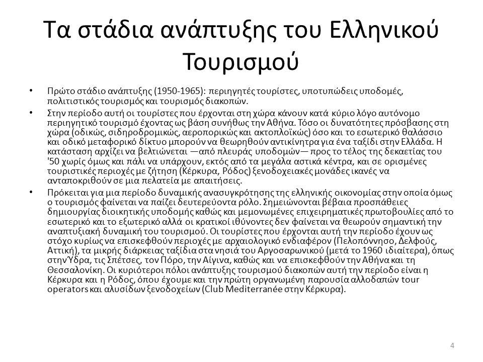 Τα στάδια ανάπτυξης του Ελληνικού Τουρισμού Η οργανωτική, περιβαλλοντική, οικονομική και κοινωνική διάσταση του τουριστικού φαινομένου είναι περιορισμένη αυτή την περίοδο και εντοπίζεται χωρικά σε συγκεκριμένες περιοχές, ενώ στο μεγαλύτερο μέρος της χώρας ο τουρίστας παραμένει αξιοθέατο.
