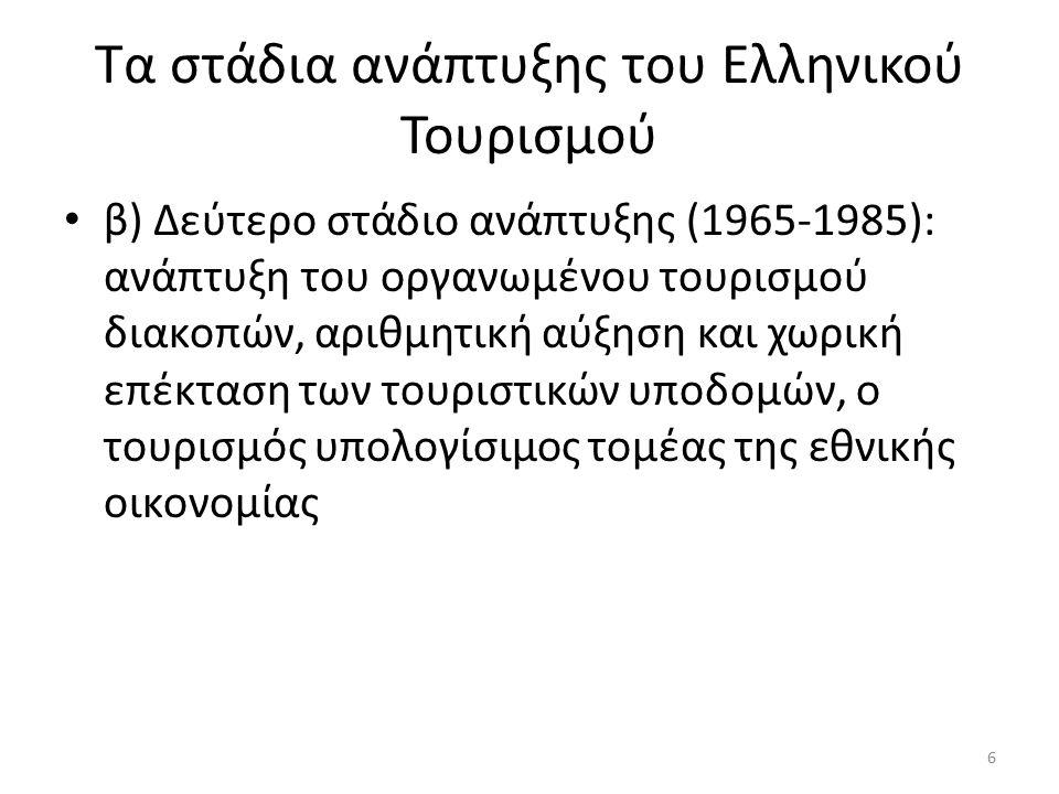 Τα στάδια ανάπτυξης του Ελληνικού Τουρισμού β) Δεύτερο στάδιο ανάπτυξης (1965-1985): ανάπτυξη του οργανωμένου τουρισμού διακοπών, αριθμητική αύξηση και χωρική επέκταση των τουριστικών υποδομών, ο τουρισμός υπολογίσιμος τομέας της εθνικής οικονομίας 6