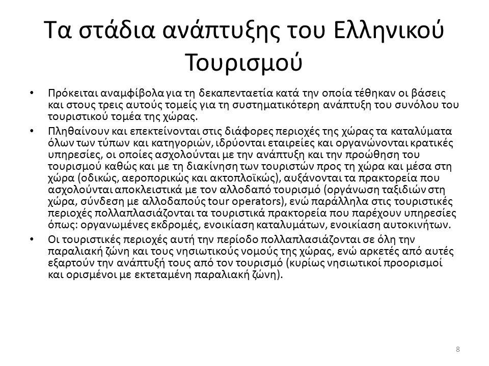 Τα στάδια ανάπτυξης του Ελληνικού Τουρισμού Η κρατική πολιτική ενισχύει την τουριστική ανάπτυξη με επενδύσεις σε υποδομές και επιχειρήσεις αναδεικνύοντας με αυτό τον τρόπο τον τουρισμό σε έναν από τους βασικούς παράγοντες της οικονομικής ανάπτυξης της χώρας την περίοδο αυτή.