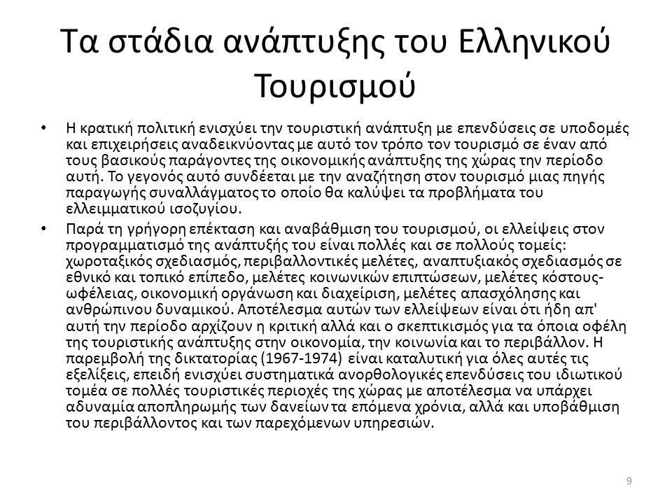 Τα στάδια ανάπτυξης του Ελληνικού Τουρισμού Σε αυτό το στάδιο ο τουρίστας σταδιακά αποκτά χαρακτηριστικά του πελάτη και συχνά του προϊόντος, μια εξέλιξη που συνδέεται με τις σημαντικές αλλαγές στην κοινωνικοοικονομική δομή των τουριστικών περιοχών, τα κίνητρα των τουριστών που επισκέπτονται τη χώρα και τα οργανωτικά χαρακτηριστικά της νέας τουριστικής υποδομής που έχει δημιουργηθεί στις τουριστικές περιοχές.