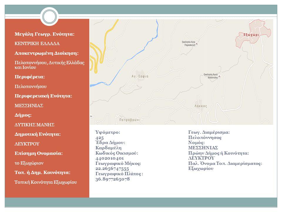 Υψόμετρο: 425 Έδρα Δήμου: Καρδαμύλη Κωδικός Οικισμού: 4402010401 Γεωγραφικό Μήκος: 22.2656747555 Γεωγραφικό Πλάτος : 36.8977265078 Μεγάλη Γεωγρ.