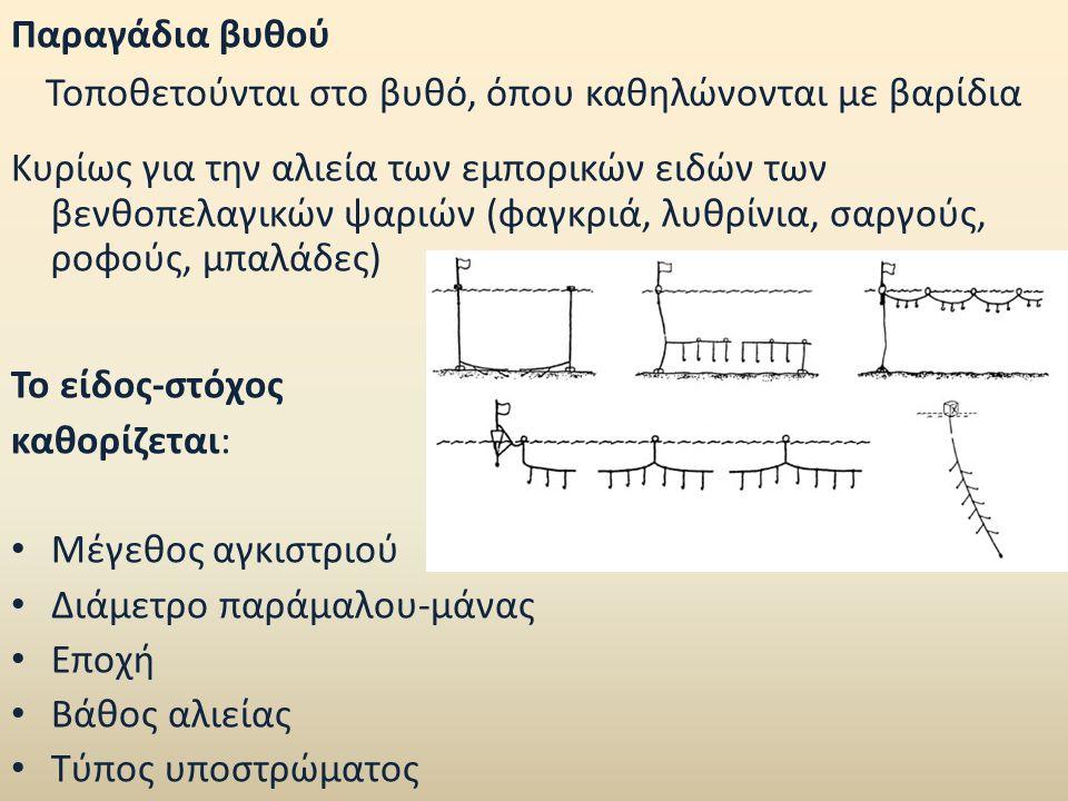 Παραγάδια βυθού / Τύποι αγκιστριών (N o Mustag) Ψιλά Βάθος: 20-100 m Μεσαία (μέτζα) Βάθος: 20-100 m Χοντρά < 11 Βάθος: 20-100 m Το μέγεθος των ψαριών αυξάνεται με την αύξηση του μεγέθους του αγκιστριού Δόλωμα (βενθικά ασπόνδυλα/μαλάκιο/ψάρια) ανάλογο με το είδος-στόχο