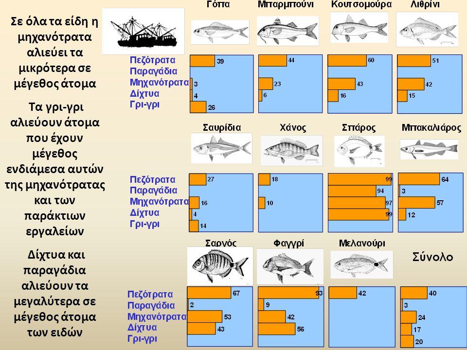 Σε όλα τα είδη η μηχανότρατα αλιεύει τα μικρότερα σε μέγεθος άτομα Τα γρι-γρι αλιεύουν άτομα που έχουν μέγεθος ενδιάμεσα αυτών της μηχανότρατας και των παράκτιων εργαλείων Δίχτυα και παραγάδια αλιεύουν τα μεγαλύτερα σε μέγεθος άτομα των ειδών