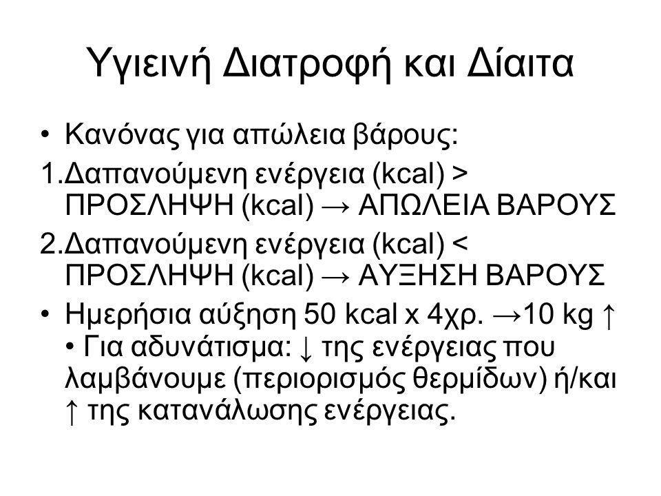 Υγιεινή Διατροφή και Δίαιτα Κανόνας για απώλεια βάρους: 1.Δαπανούμενη ενέργεια (kcal) > ΠΡΟΣΛΗΨΗ (kcal) → ΑΠΩΛΕΙΑ ΒΑΡΟΥΣ 2.Δαπανούμενη ενέργεια (kcal) < ΠΡΟΣΛΗΨΗ (kcal) → AYΞΗΣΗ ΒΑΡΟΥΣ Ημερήσια αύξηση 50 kcal x 4χρ.