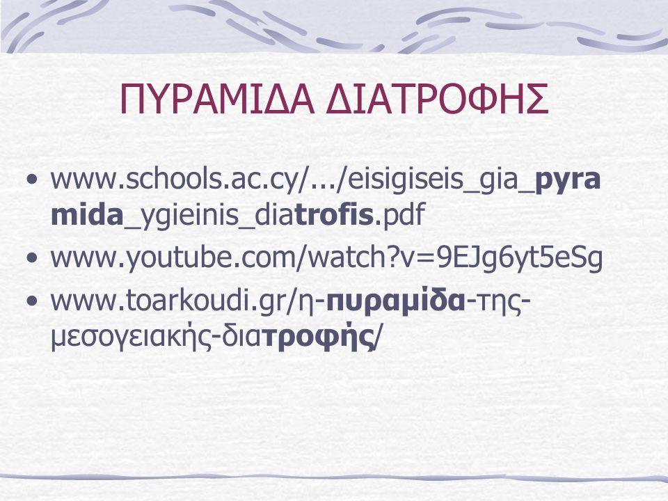 ΠΥΡΑΜΙΔΑ ΔΙΑΤΡΟΦΗΣ www.schools.ac.cy/.../eisigiseis_gia_pyra mida_ygieinis_diatrofis.pdf www.youtube.com/watch v=9EJg6yt5eSg www.toarkoudi.gr/η-πυραμίδα-της- μεσογειακής-διατροφής/