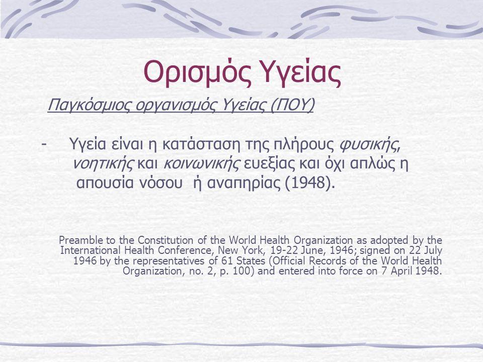 Ορισμός Υγείας Παγκόσμιος οργανισμός Υγείας (ΠΟΥ) - Υγεία είναι η κατάσταση της πλήρους φυσικής, νοητικής και κοινωνικής ευεξίας και όχι απλώς η απουσία νόσου ή αναπηρίας (1948).