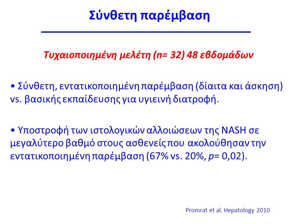 Σύνθετη παρέμβαση Τυχαιοποιημένη μελέτη (n= 32) 48 εβδομάδων Σύνθετη, εντατικοποιημένη παρέμβαση (δίαιτα και άσκηση) vs.