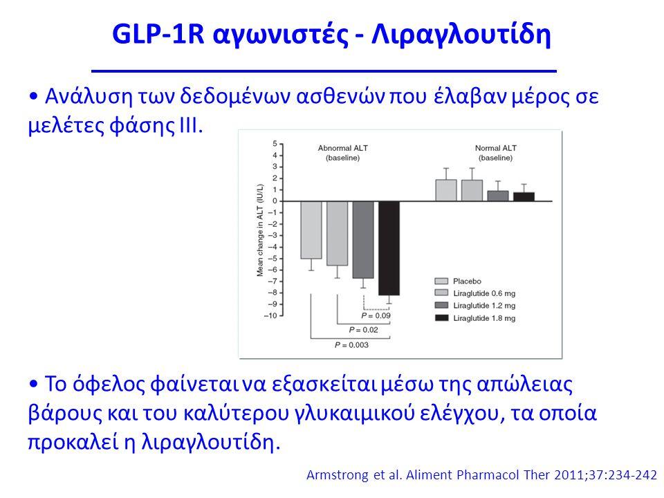 GLP-1R αγωνιστές - Λιραγλουτίδη Ανάλυση των δεδομένων ασθενών που έλαβαν μέρος σε μελέτες φάσης ΙΙΙ.