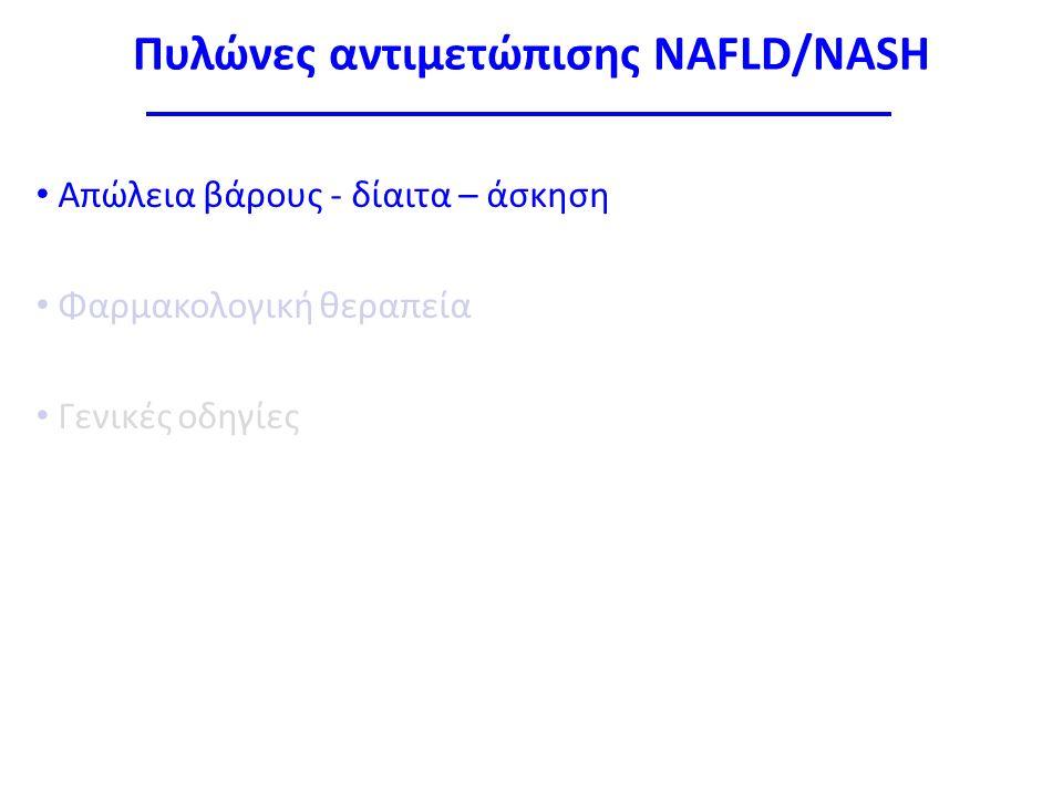 Πυλώνες αντιμετώπισης NAFLD/NASH Απώλεια βάρους - δίαιτα – άσκηση Φαρμακολογική θεραπεία Γενικές οδηγίες