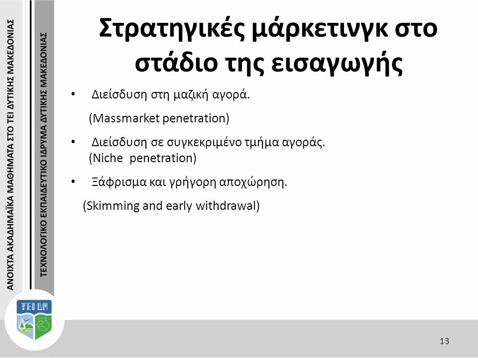 Στρατηγικές μάρκετινγκ στο στάδιο της εισαγωγής 13 Διείσδυση στη μαζική αγορά.