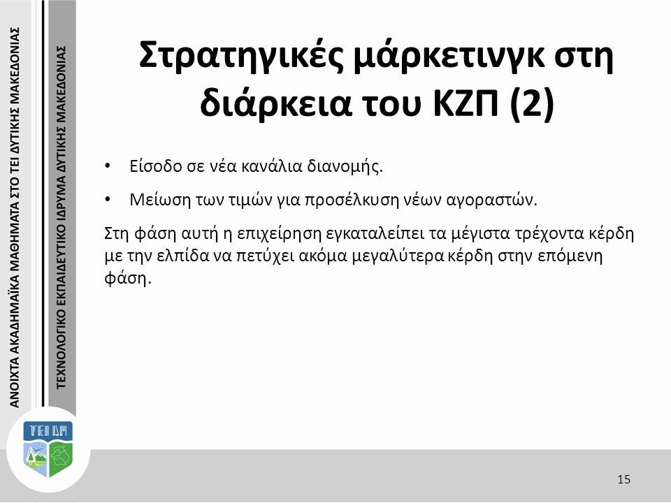 Στρατηγικές μάρκετινγκ στη διάρκεια του ΚΖΠ (2) 15 Είσοδο σε νέα κανάλια διανομής.