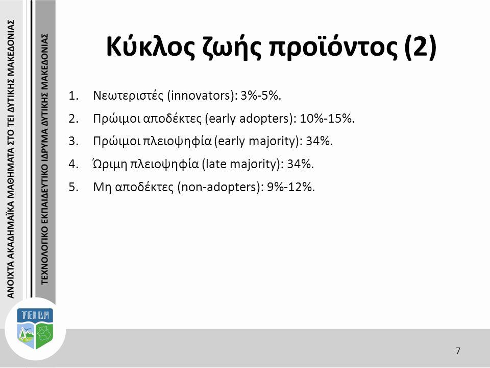 Κύκλος ζωής προϊόντος (2) 7 1.Νεωτεριστές (innovators): 3%-5%.