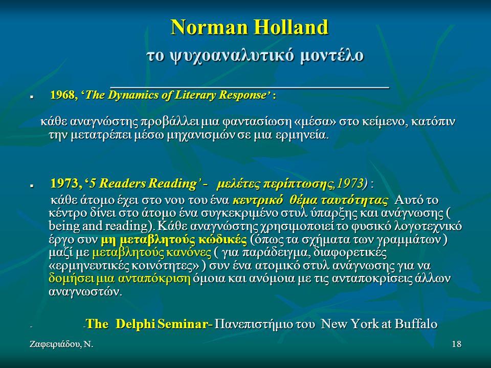 Ζαφειριάδου, Ν.18 Norman Holland το ψυχοαναλυτικό μοντέλο _____________________________ 1968, 'The Dynamics of Literary Response ' : 1968, 'The Dynamics of Literary Response ' : κάθε αναγνώστης προβάλλει μια φαντασίωση «μέσα» στο κείμενο, κατόπιν την μετατρέπει μέσω μηχανισμών σε μια ερμηνεία.
