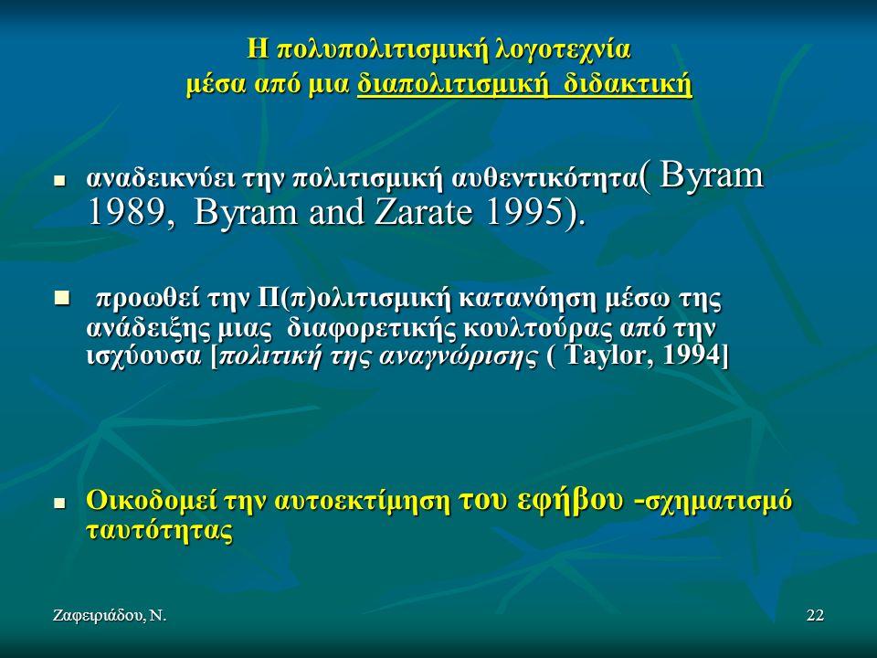 Ζαφειριάδου, Ν.22 Η πολυπολιτισμική λογοτεχνία μέσα από μια διαπολιτισμική διδακτική αναδεικνύει την πολιτισμική αυθεντικότητα ( Byram 1989, Byram and Zarate 1995).