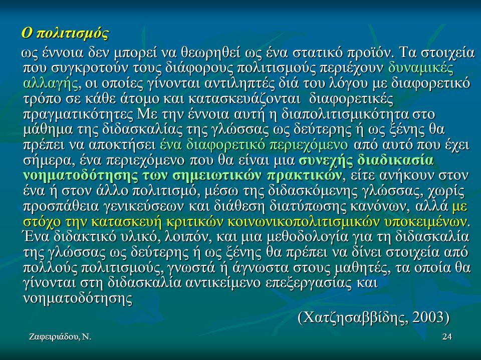 Ζαφειριάδου, Ν.24 Ο πολιτισμός Ο πολιτισμός ως έννοια δεν μπορεί να θεωρηθεί ως ένα στατικό προϊόν.