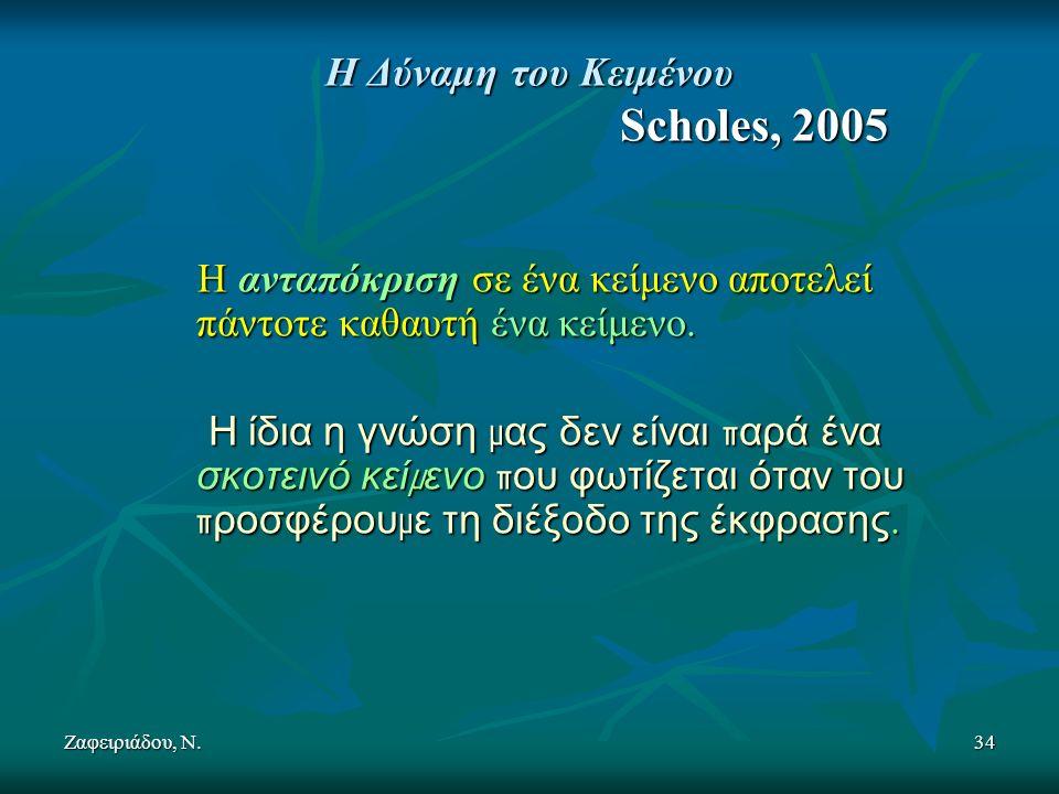 Ζαφειριάδου, Ν.34 Η Δύναμη του Κειμένου Scholes, 2005 Η ανταπόκριση σε ένα κείμενο αποτελεί πάντοτε καθαυτή ένα κείμενο.