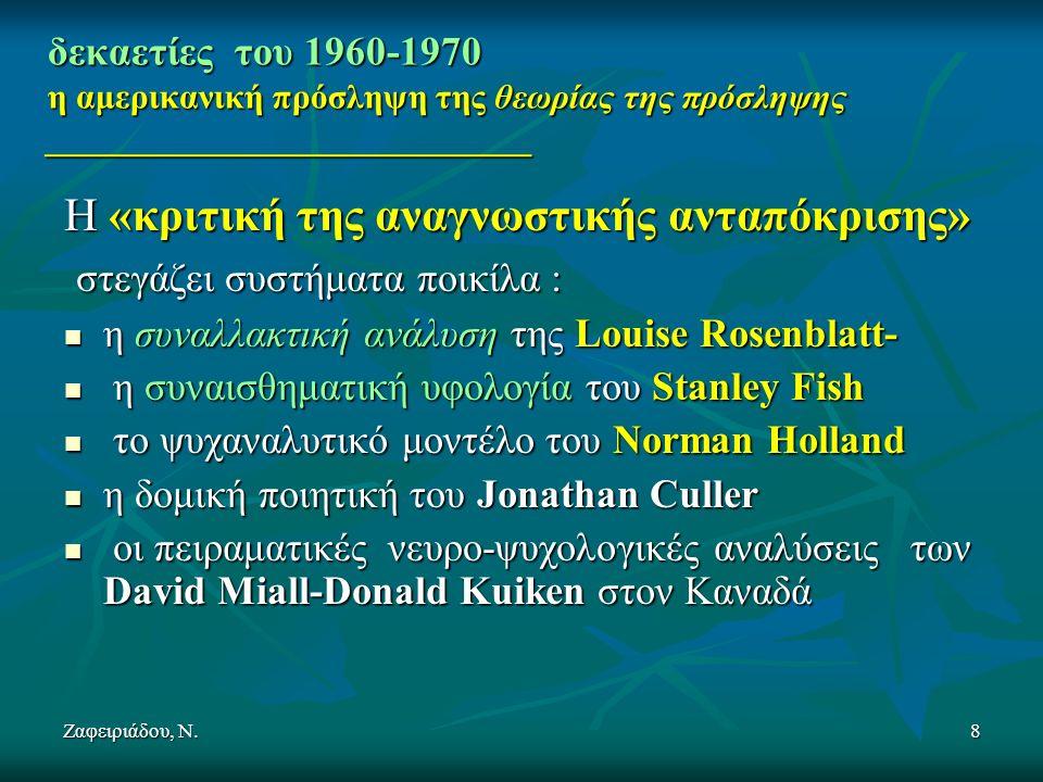 Ζαφειριάδου, Ν.8 δεκαετίες του 1960-1970 η αμερικανική πρόσληψη της θεωρίας της πρόσληψης ____________________________ Η «κριτική της αναγνωστικής ανταπόκρισης» στεγάζει συστήματα ποικίλα : στεγάζει συστήματα ποικίλα : η συναλλακτική ανάλυση της Louise Rosenblatt- η συναλλακτική ανάλυση της Louise Rosenblatt- η συναισθηματική υφολογία του Stanley Fish η συναισθηματική υφολογία του Stanley Fish το ψυχαναλυτικό μοντέλο του Norman Holland το ψυχαναλυτικό μοντέλο του Norman Holland η δομική ποιητική του Jonathan Culler η δομική ποιητική του Jonathan Culler οι πειραματικές νευρο-ψυχολογικές αναλύσεις των David Miall-Donald Kuiken στον Καναδά οι πειραματικές νευρο-ψυχολογικές αναλύσεις των David Miall-Donald Kuiken στον Καναδά