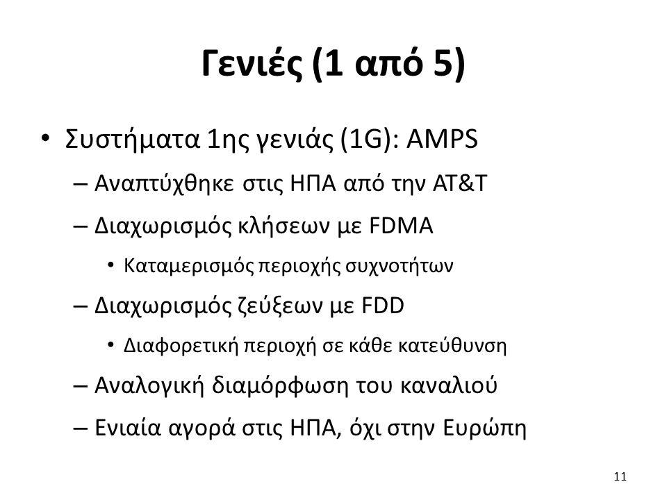 Γενιές (1 από 5) Συστήματα 1ης γενιάς (1G): AMPS – Αναπτύχθηκε στις ΗΠΑ από την AT&T – Διαχωρισμός κλήσεων με FDMA Καταμερισμός περιοχής συχνοτήτων –