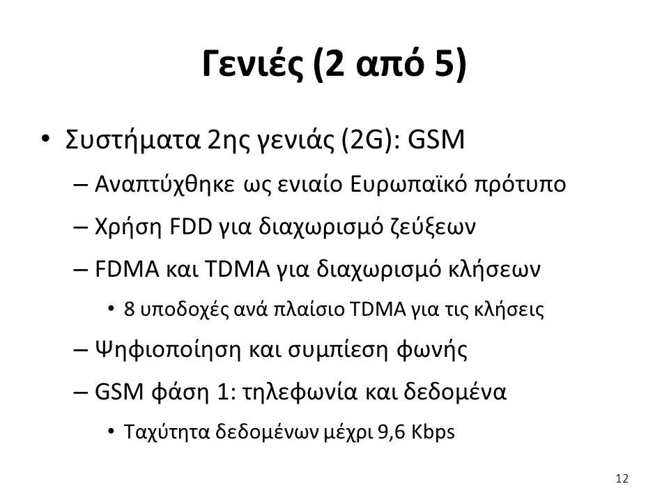 Γενιές (2 από 5) Συστήματα 2ης γενιάς (2G): GSM – Αναπτύχθηκε ως ενιαίο Ευρωπαϊκό πρότυπο – Χρήση FDD για διαχωρισμό ζεύξεων – FDMA και TDMA για διαχω