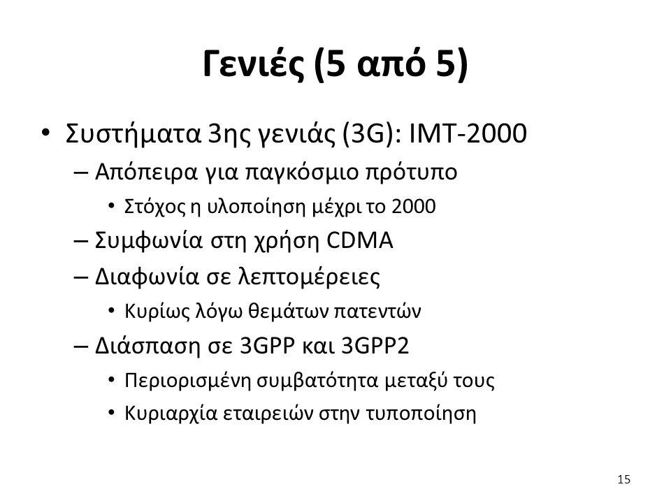 Γενιές (5 από 5) Συστήματα 3ης γενιάς (3G): ΙΜΤ-2000 – Απόπειρα για παγκόσμιο πρότυπο Στόχος η υλοποίηση μέχρι το 2000 – Συμφωνία στη χρήση CDMA – Δια