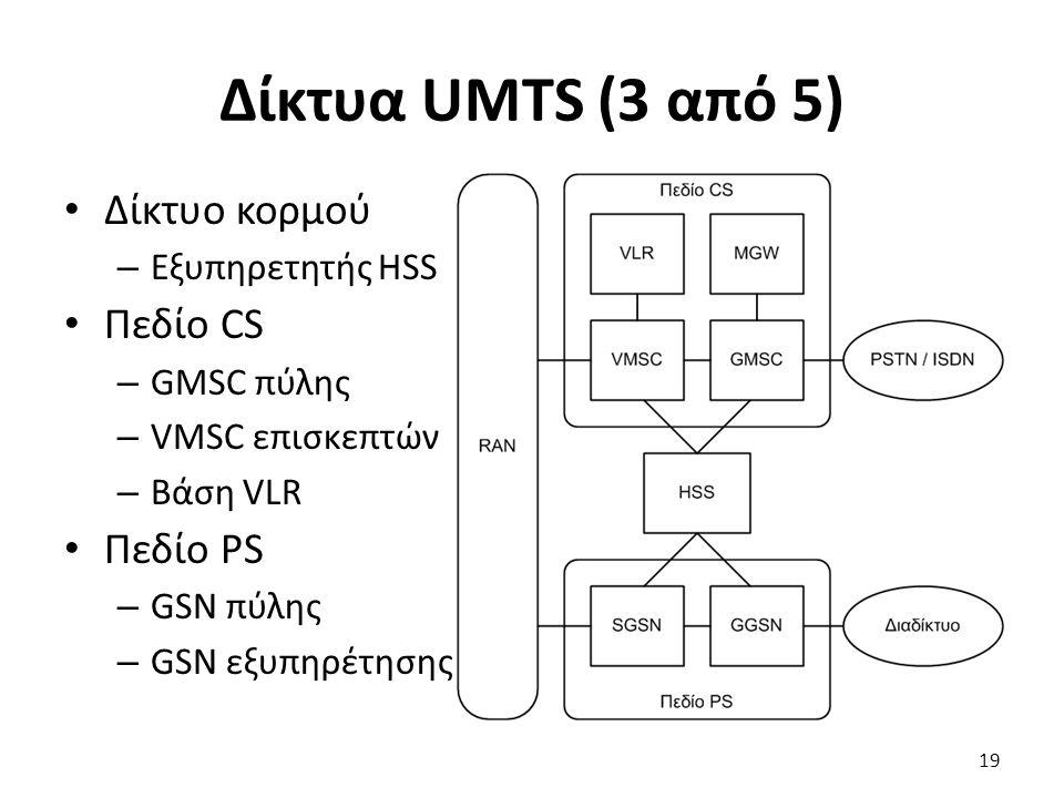 Δίκτυα UMTS (3 από 5) Δίκτυο κορμού – Εξυπηρετητής HSS Πεδίο CS – GMSC πύλης – VMSC επισκεπτών – Βάση VLR Πεδίο PS – GSN πύλης – GSN εξυπηρέτησης 19