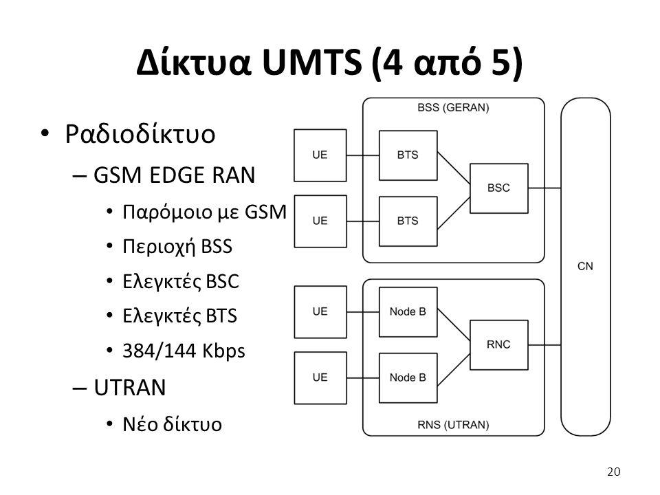 Δίκτυα UMTS (4 από 5) Ραδιοδίκτυο – GSM EDGE RAN Παρόμοιο με GSM Περιοχή BSS Ελεγκτές BSC Ελεγκτές BTS 384/144 Kbps – UTRAN Νέο δίκτυο 20