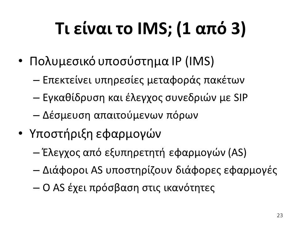 Τι είναι το IMS; (1 από 3) Πολυμεσικό υποσύστημα IP (IMS) – Επεκτείνει υπηρεσίες μεταφοράς πακέτων – Εγκαθίδρυση και έλεγχος συνεδριών με SIP – Δέσμευ