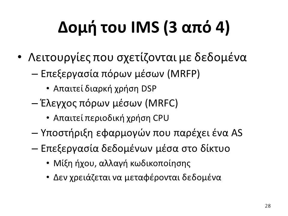 Δομή του IMS (3 από 4) Λειτουργίες που σχετίζονται με δεδομένα – Επεξεργασία πόρων μέσων (MRFP) Απαιτεί διαρκή χρήση DSP – Έλεγχος πόρων μέσων (MRFC)