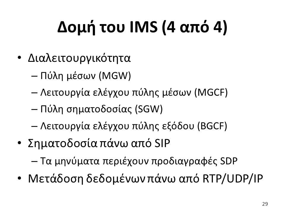 Δομή του IMS (4 από 4) Διαλειτουργικότητα – Πύλη μέσων (MGW) – Λειτουργία ελέγχου πύλης μέσων (MGCF) – Πύλη σηματοδοσίας (SGW) – Λειτουργία ελέγχου πύ