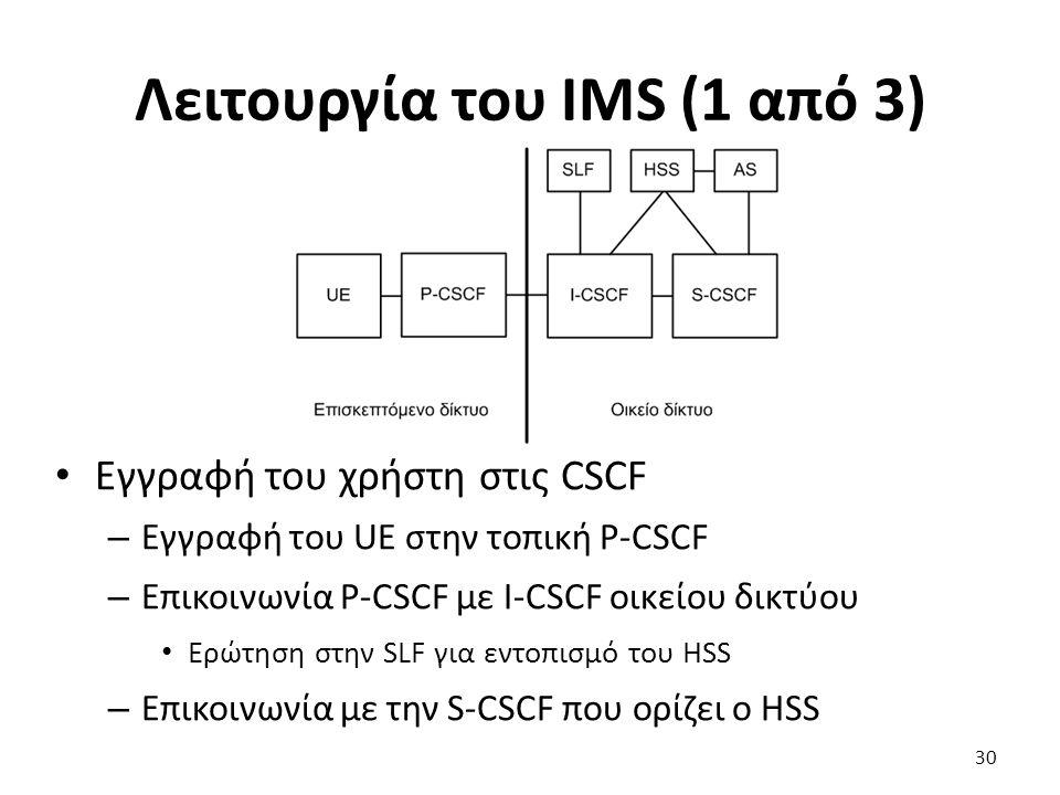 Λειτουργία του IMS (1 από 3) Εγγραφή του χρήστη στις CSCF – Εγγραφή του UE στην τοπική P-CSCF – Επικοινωνία P-CSCF με I-CSCF οικείου δικτύου Ερώτηση σ