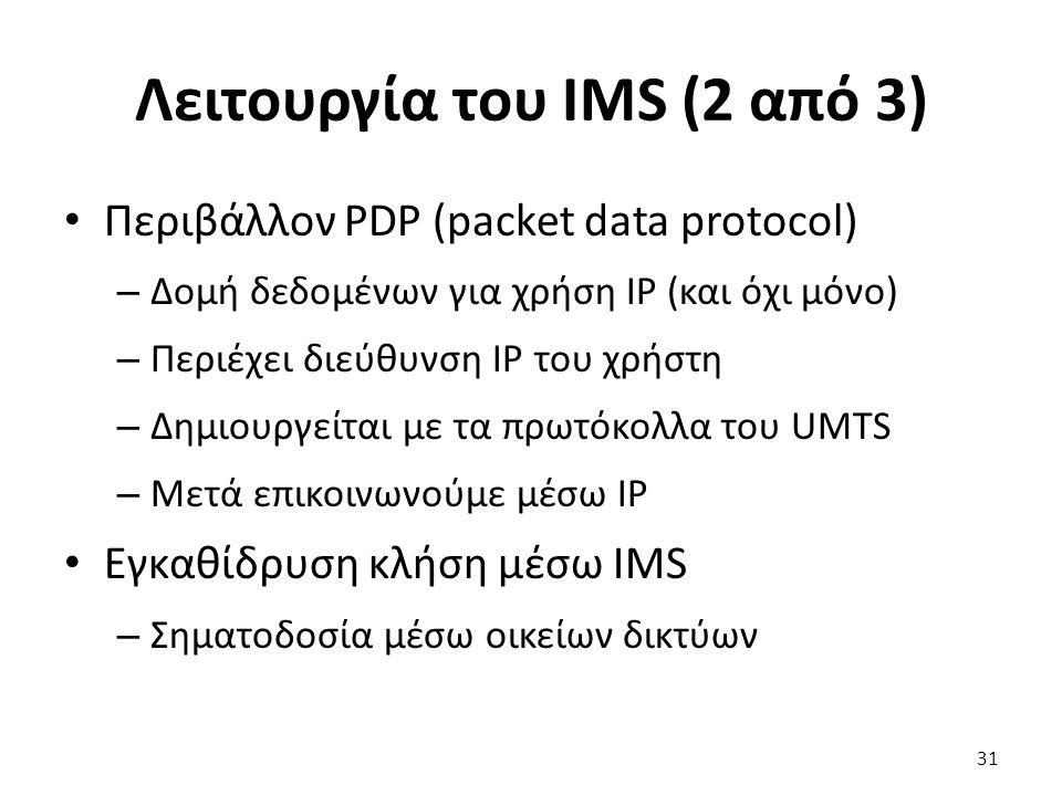 Λειτουργία του IMS (2 από 3) Περιβάλλον PDP (packet data protocol) – Δομή δεδομένων για χρήση IP (και όχι μόνο) – Περιέχει διεύθυνση IP του χρήστη – Δ
